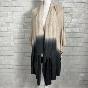 Status by chenault open front dip dyed ombré duster modern cardigan sweater